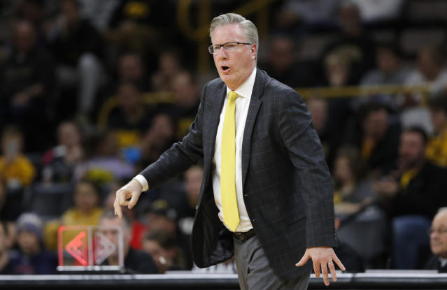 Iowa head coach Fran McCaffery reacts to a call during the second half of an NCAA college basketball game against UKMC, Thursday, Nov. 8, 2018, in Iowa City, Iowa. (AP Photo/Charlie Neibergall)