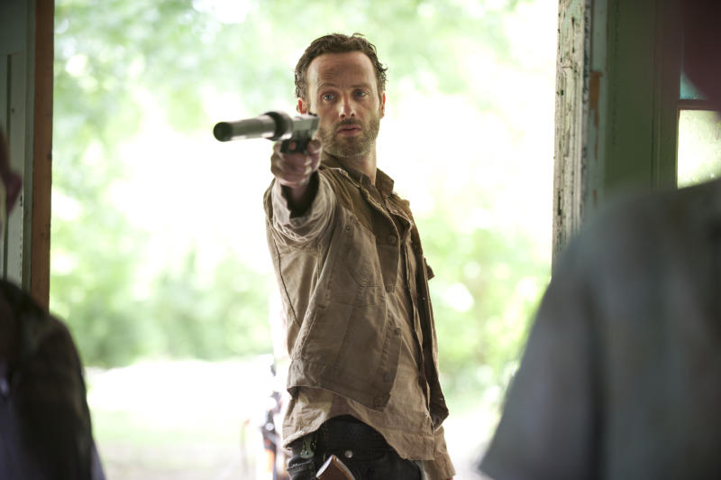 "In this publicity photo released by AMC, Andrew Lincoln as Rick Grimes is shown in a scene from ""The Walking Dead."" (AP Photo/AMC, Gene Page)"