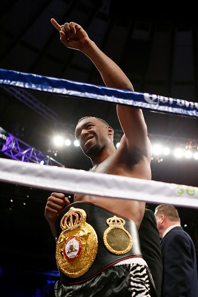 NEW YORK, NY - DECEMBER 01: Austin Trout celebrates with the belt after defeating Miguel Cotto to retain his WBA Super Welterweight Championship title at Madison Square Garden on December 1, 2012 in New York City. (Photo by Elsa/Getty Images)