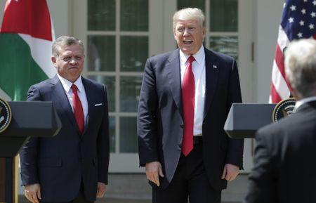 U.S. President Donald Trump (R) and Jordan's King Abdullah stand together at the conclusion of their joint news conference in the Rose Garden after their meeting at the White House in Washington, U.S., April 5, 2017. REUTERS/Yuri Gripas