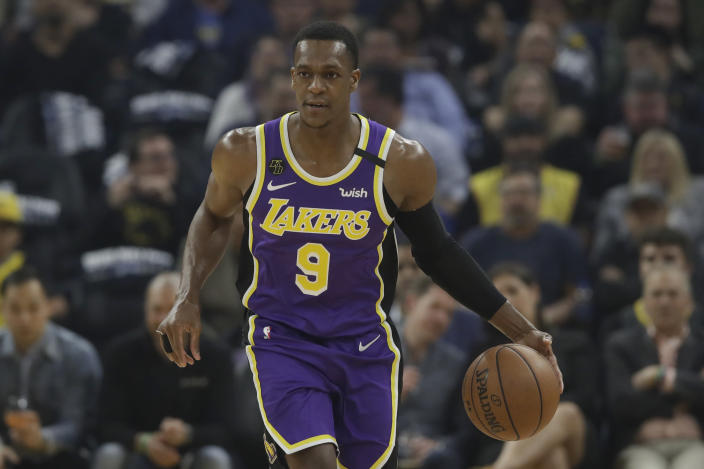 Lakers guard Rajon Rondo fractured his thumb in practice last month, and is expected to miss six-to-eight weeks. (AP/Jeff Chiu)