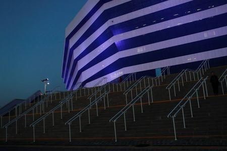 Stairs leading up to a stadium are seen in the evening in Kaliningrad, Russia, June 28, 2018. REUTERS/Kacper Pempel