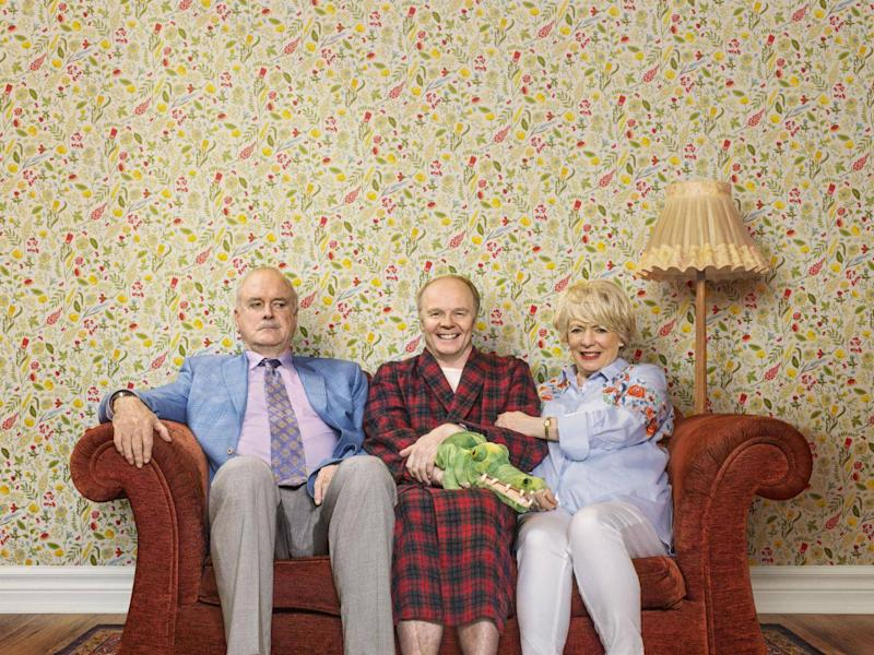 Cleese as Phil, Jason Watkins as Roger and Alison Steadman as Edith in 'Hold the Sunset' (BBC/Shutterstock/Adam Lawrence )