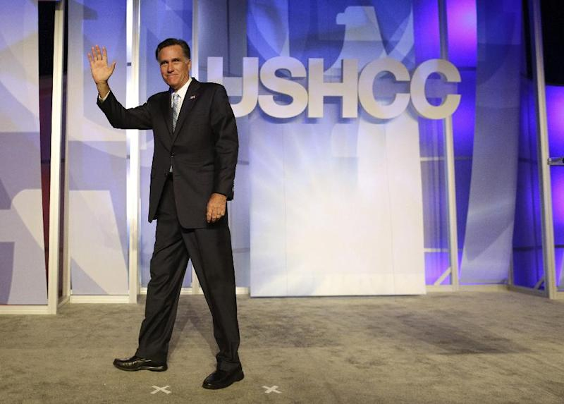 Republican presidential candidate and former Massachusetts Gov. Mitt Romney waves after he addressed the U.S. Hispanic Chamber of Commerce in Los Angeles, Monday, Sept. 17, 2012. (AP Photo/Charles Dharapak)