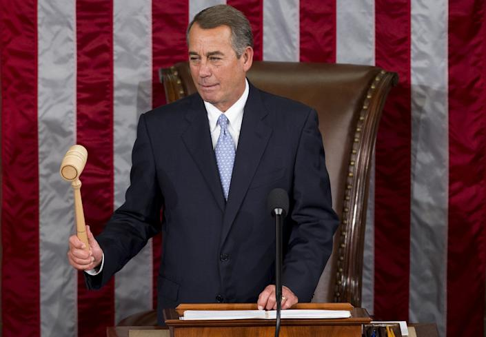 Outgoing Speaker of the House John Boehner, Republican of Ohio, uses his gavel to call a vote for a new Speaker in the House Chamber at the US Capitol in Washington, DC, October 29, 2015. US Representative Paul Ryan, Republican of Wisconsin, is expected to become the new Speaker later today. AFP PHOTO / SAUL LOEB (Photo credit should read SAUL LOEB/AFP/Getty Images)