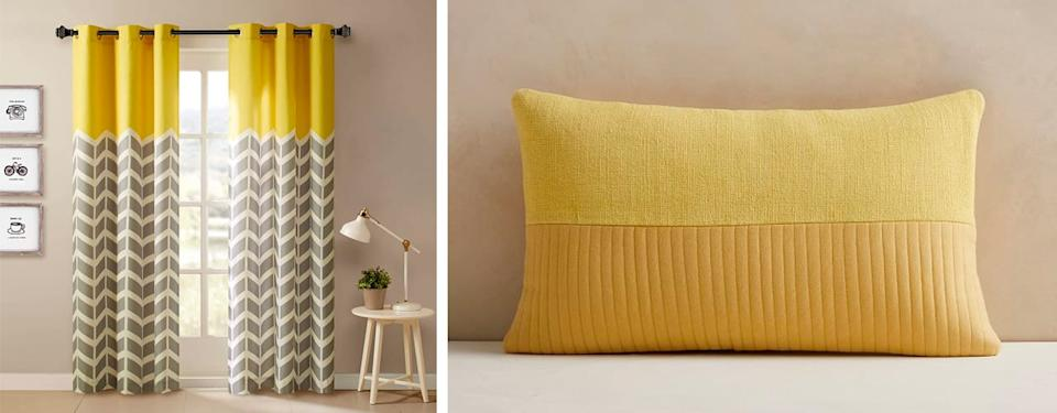 inbody amazon westelm Intelligent Design Yellow in Grey Chevron Printed Curtains for Living Room or Bedroom Quilted Cotton Pillow Cover