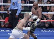 Mayweather stopped martial arts star Conor McGregor in the 10th round of their money-spinning superfight (AFP Photo/John Gurzinski)
