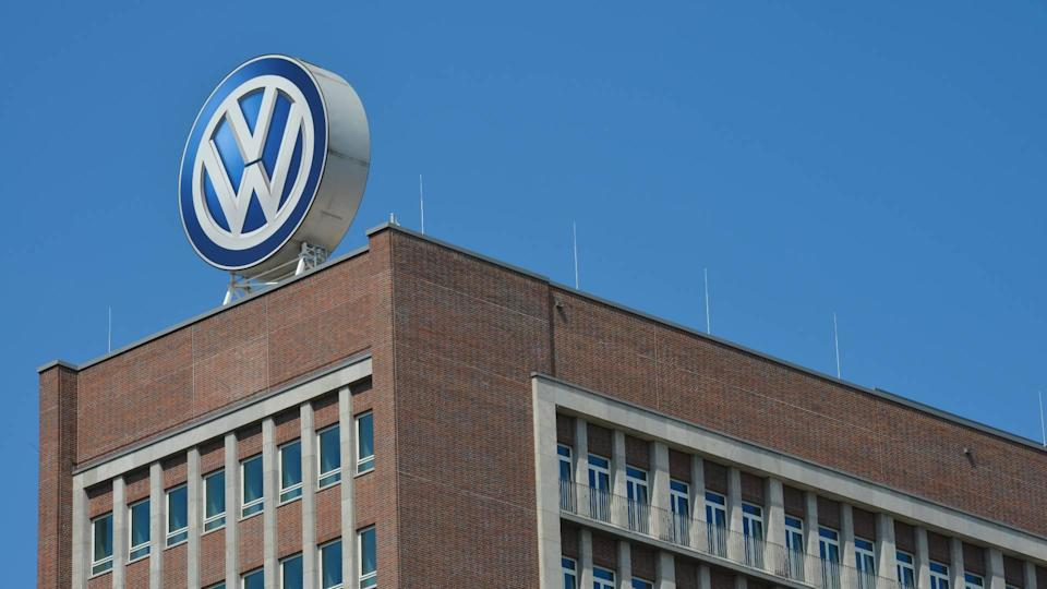 VW logo on the roof of headquarters Wolfsburg Germany
