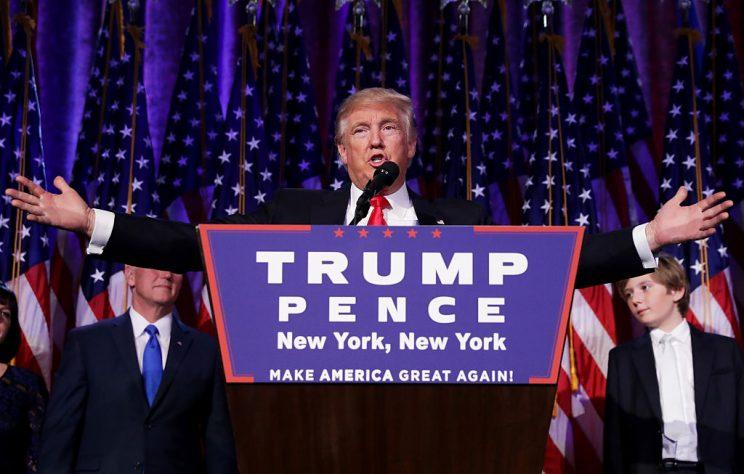 Donald Trump delivers his acceptance speech during his election night event at the New York Hilton Midtown. (Chip Somodevilla/Getty Images)
