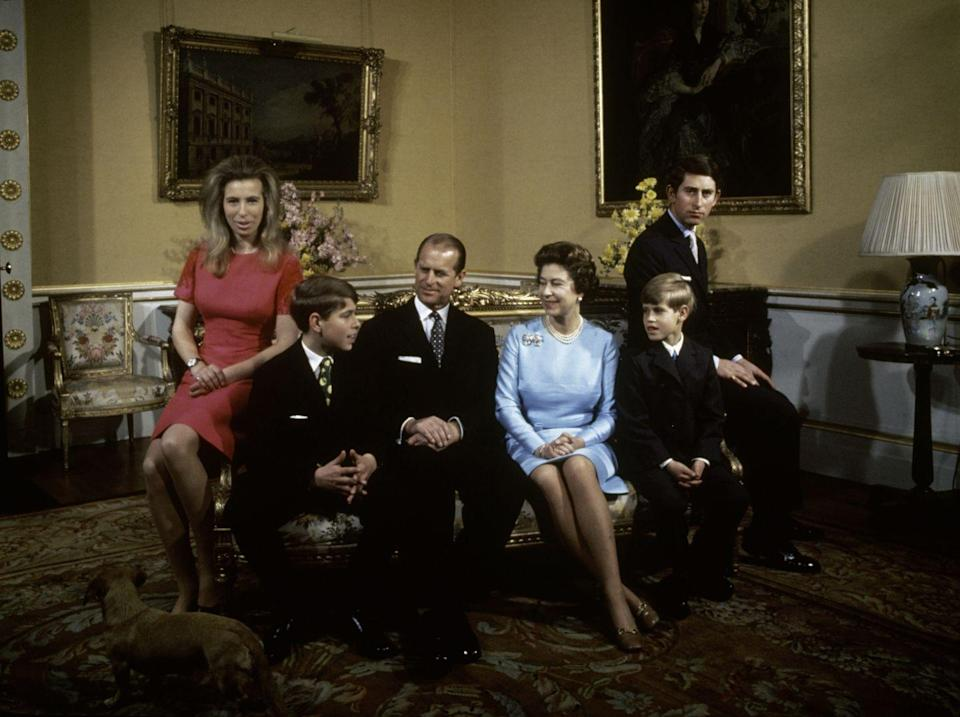 <p>Princess Anne, Prince Andrew, Prince Philip, Queen Elizabeth, Prince Edward and Prince Charles photographed together at Buckingham Palace in 1972.</p>