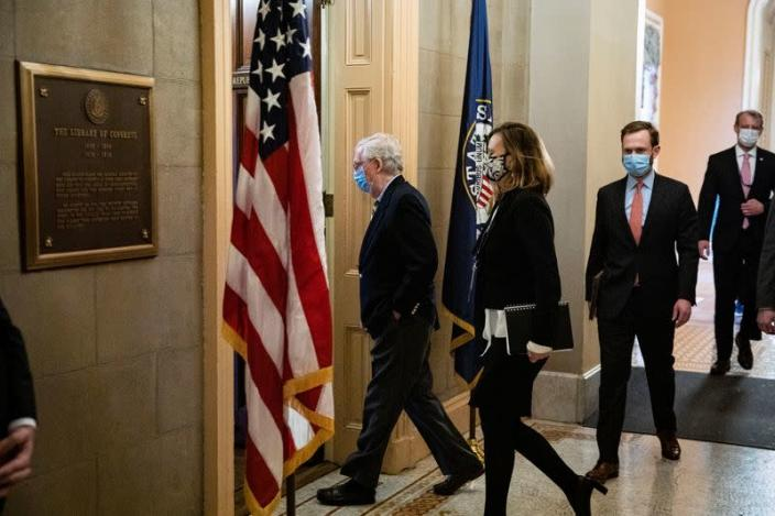 U.S. Senate Minority Leader McConnell (R-KY) arrives in his office after speaking on the Senate floor in the U.S. Capitol on the fifth day of the impeachment trial of former U.S. President Donald Trump