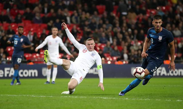 Rooney nearly gets on the end of a cross late on (Nick Potts/PA)