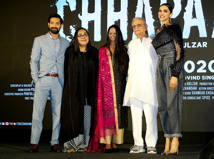 "Vikrant Massey, Meghna Gulzar,Laxmi Agarwal, Gulzar, and Deepika Padukon at the song launch of ""Chhapaak"" on January 03,2020 in Mumbai, India. (Photo by Prodip Guha/Getty Images)"