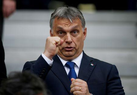 Football Soccer - Austria v Hungary - EURO 2016 - Group F - Stade de Bordeaux, Bordeaux, France - 14/6/16 Hungarian Prime Minister Viktor Orban REUTERS/Sergio Perez/File Photo To match story