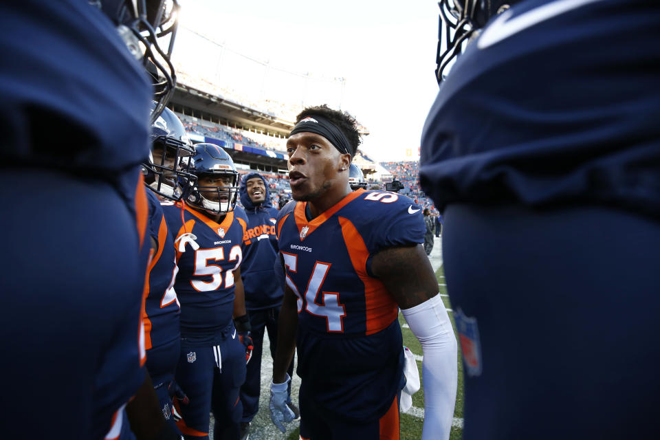 """Denver Broncos linebacker Brandon Marshall called President Trump's recent comment suggesting protesting players be ejected from the United States """"disgusting."""" (AP)"""