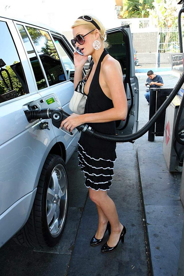 "Paris Hilton fills up before a wild night of partying. <a href=""http://www.x17online.com"" target=""new"">X17 Online</a> - September 16, 2006"