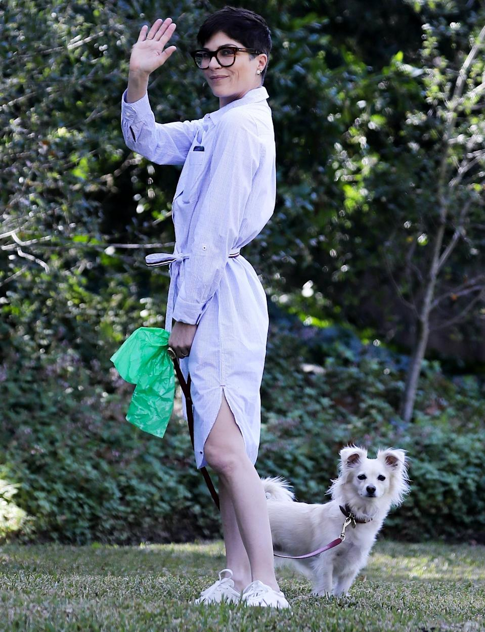 <p>Selma Blair and her pooch enjoy an afternoon in the park in Beverly Hills on Friday.</p>