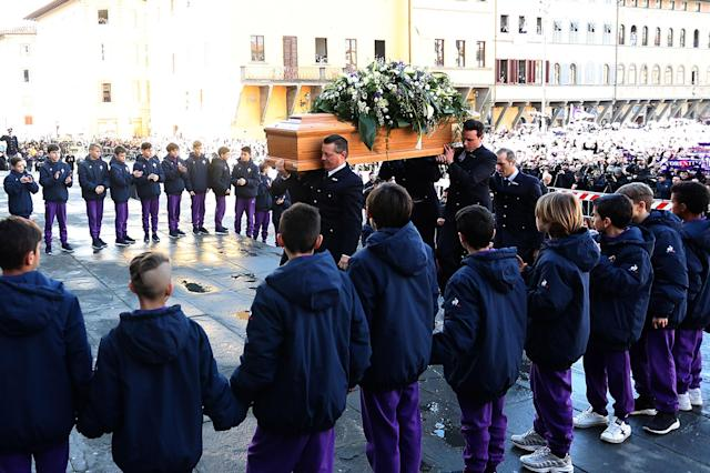 <p>Davide Astori funeral service in Florence on March 8, 2018 in Florence, Italy. (Photo by Gabriele Maltinti/Getty Images) </p>