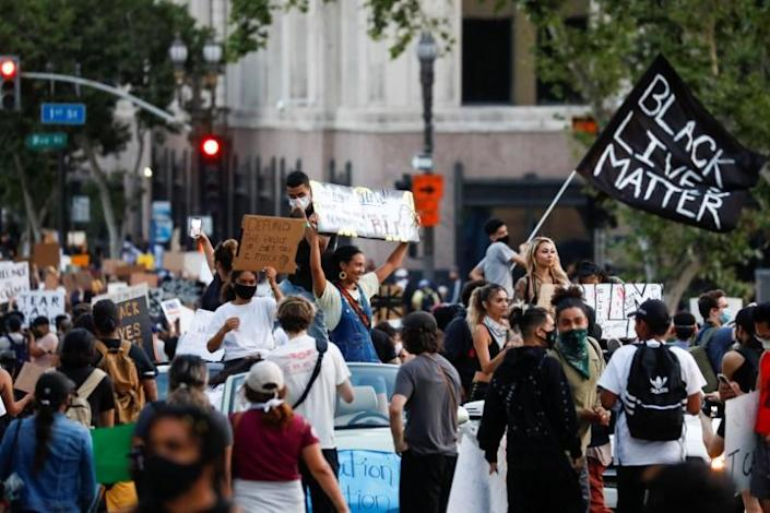 Protest in response to the death in Minneapolis police custody of George Floyd, in Los Angeles, California