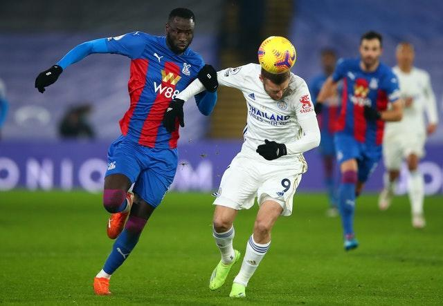 Jamie Vardy, right, came off the bench at Selhurst Park