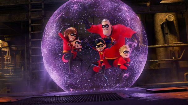PHOTO: Holly Hunter, Craig T. Nelson, Sarah Vowell, and Huck Milner appear in 'Incredibles 2.' (Walt Disney Studios)