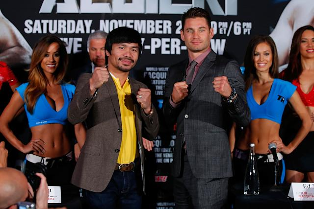 Manny Pacquiao, left, and Chris Algieri are slated to fight Nov. 22. (Getty)