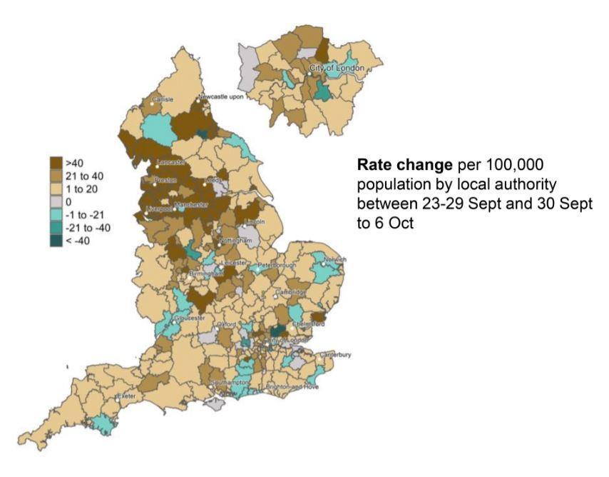The map shows the rate change in coronavirus cases per 100,000