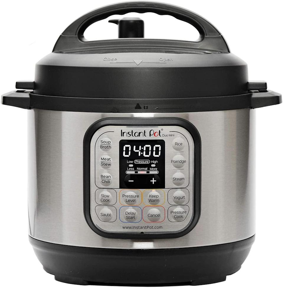 <p>The <span>Instant Pot Duo Mini 3 Qt 7-in-1 Multi- Use Programmable Pressure Cooker</span> ($69) can do it all, including pressure cook, slow cook, make yogurt, steam and sauté food. Make yummy ribs, soups, beans, rice, poultry, yogurt, desserts and more in an instant! </p>