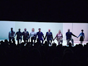 """<p>The actress and her co-stars in Broadway's <em>1984</em> took a knee together at curtain call on Sunday. """"Proud to be a part of this cast,"""" the actress captioned this photo of the moment of unity. """"Thank you to our electric audience for your energy and support."""" (Photo: <a rel=""""nofollow noopener"""" href=""""https://www.instagram.com/p/BZcGE9HHLIH/?taken-by=oliviawilde"""" target=""""_blank"""" data-ylk=""""slk:Olivia Wilde via Instagram"""" class=""""link rapid-noclick-resp"""">Olivia Wilde via Instagram</a>) </p>"""