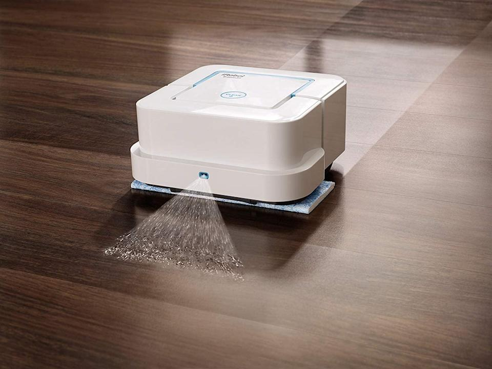 """<p>If you're a fan of the <a href=""""https://www.popsugar.com/family/Amazon-Prime-Day-Roomba-Vacuum-Sale-2018-45058517"""" class=""""link rapid-noclick-resp"""" rel=""""nofollow noopener"""" target=""""_blank"""" data-ylk=""""slk:iRobot vacuum"""">iRobot vacuum</a>, then you'll want to give this <span>iRobot Braava Jet 240 Robot Mop</span> ($180, originally $199) a try. It will clean your floors when you're not around, so you have nothing to worry about later.</p>"""