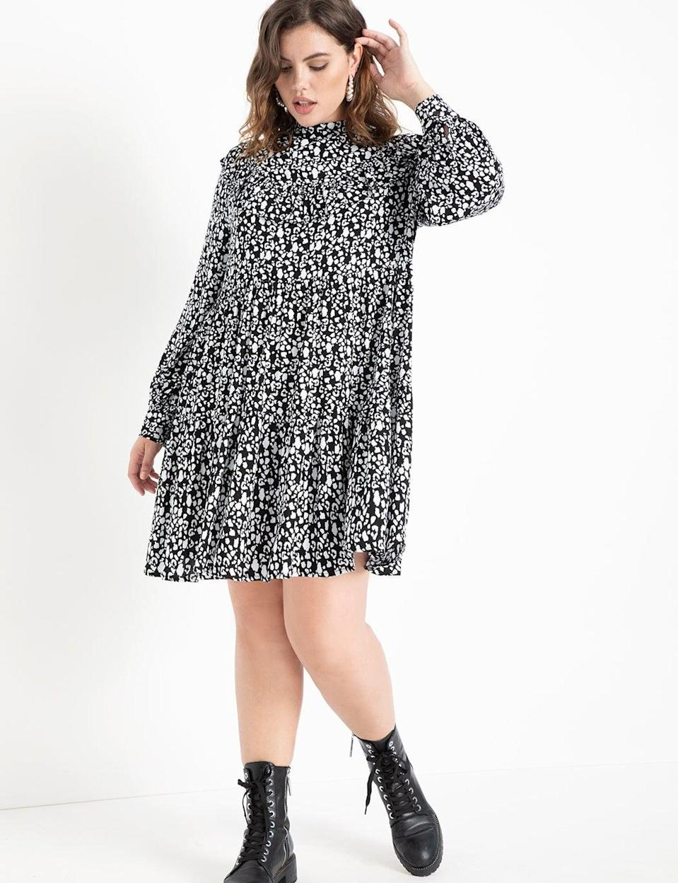 """<br> <br> <strong>Eloquii</strong> Easy Dress with Tiered Skirt, $, available at <a href=""""https://go.skimresources.com/?id=30283X879131&url=https%3A%2F%2Fwww.eloquii.com%2Feasy-dress-with-tiered-skirt%2F1248946.html%3Fdwvar_1248946_colorCode%3D6"""" rel=""""nofollow noopener"""" target=""""_blank"""" data-ylk=""""slk:Eloquii"""" class=""""link rapid-noclick-resp"""">Eloquii</a>"""