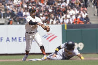 San Francisco Giants shortstop Thairo Estrada, left, throws to first base after forcing out Pittsburgh Pirates' Phillip Evans, right, at second base on a double play hit into by Kevin Newman during the sixth inning of a baseball game in San Francisco, Sunday, July 25, 2021. (AP Photo/Jeff Chiu)