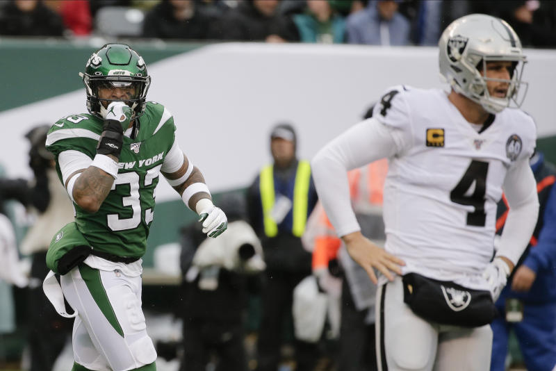 New York Jets strong safety Jamal Adams (33) celebrates after sacking Oakland Raiders quarterback Derek Carr (4) during the first half of an NFL football game Sunday, Nov. 24, 2019, in East Rutherford, N.J. (AP Photo/Seth Wenig)