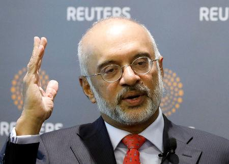 DBS's CEO Piyush Gupta speaks during a Reuters Newsmaker event in Singapore