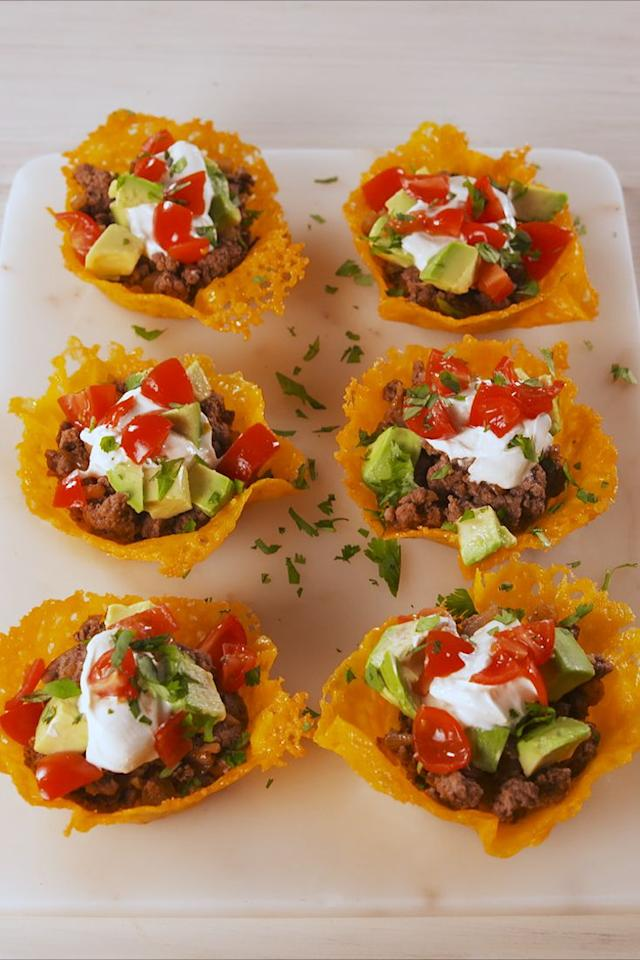 "<p>Cheese cups have more fun. </p><p>Get the recipe from <a rel=""nofollow"" href=""https://www.delish.com/cooking/recipe-ideas/a19637783/keto-taco-cups-recipe/"">Delish</a>.</p><p><a rel=""nofollow"" href=""https://www.amazon.com/Wilton-Recipe-Nonstick-12-Cup-Regular/dp/B003W0UMPI?tag=delish_auto-append-20&ascsubtag=[artid