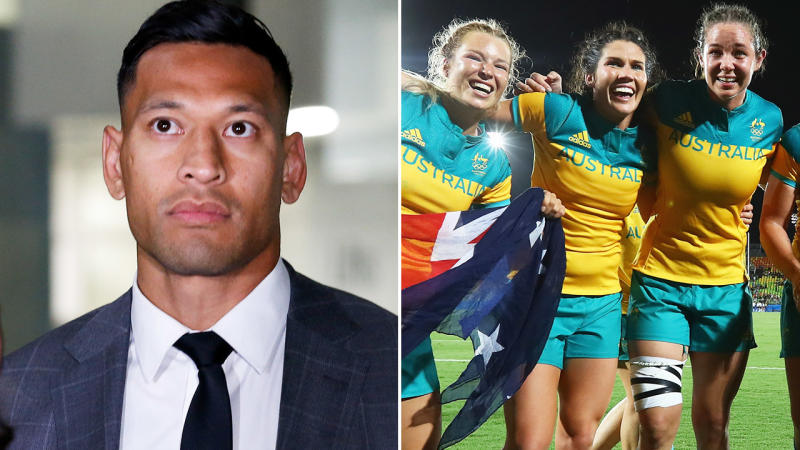 Israel Folau and the Aussie women's rugby team, pictured here after winning gold in 2016.