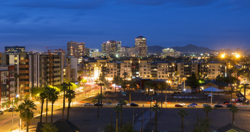 The skyline of Scottsdale, Arizona, in evening light