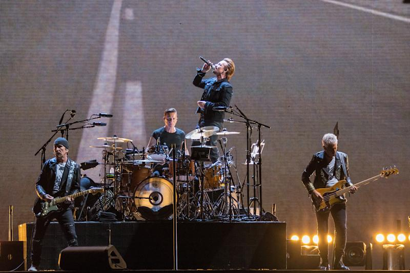 DETROIT, MI - SEPTEMBER 03: (L-R) The Edge, Larry Mullen Jr., Bono and Adam Clayton of U2 perform during 'The Joshua Tree Tour 2017' at Ford Field on September 3, 2017 in Detroit, Michigan. (Photo by Scott Legato/Getty Images)