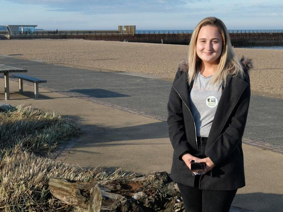 <p>Paige Hunter, from Sunderland, returns to Wearmouth Bridge where she almost took her own life regularly to post messages of hope for other people in mental health crises</p> (If U Care Share)