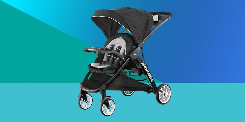 """<p>One of the great things about having an older child when you have your baby is that you don't necessarily need a <a href=""""https://www.bestproducts.com/parenting/baby/g129/best-double-strollers-tandem-side/"""" rel=""""nofollow noopener"""" target=""""_blank"""" data-ylk=""""slk:double stroller."""" class=""""link rapid-noclick-resp"""">double stroller.</a> If your older kid is pretty independent already, you might just want something a little easier for you to cart around, which makes a sit and stand stroller the perfect option for you.</p><p>Sit and stand strollers are either <a href=""""https://www.bestproducts.com/parenting/baby/g1529/best-baby-strollers-reviews/"""" rel=""""nofollow noopener"""" target=""""_blank"""" data-ylk=""""slk:traditional strollers"""" class=""""link rapid-noclick-resp"""">traditional strollers </a>with an attachment for your little one to hop on and off at will, or they're a full stroller with a lightweight seat attached that gives your child freedom of movement. There's a whole range of strollers like this, and like so many other parenting products, the one that's best for you really depends on your personal needs.</p><h3 class=""""body-h3"""">Best Sit and Stand Strollers<br></h3><ul><li><strong>Best Overall: </strong><a href=""""https://www.amazon.com/Chicco-BravoFor2-Standing-Sitting-Stroller/dp/B08DD7MW21/ref=sr_1_3?dchild=1&keywords=chicco+bravo+for+two&qid=1629384241&sr=8-3&tag=syn-yahoo-20&ascsubtag=%5Bartid%7C2089.g.37348107%5Bsrc%7Cyahoo-us"""" rel=""""nofollow noopener"""" target=""""_blank"""" data-ylk=""""slk:Chicco BravoFor2"""" class=""""link rapid-noclick-resp"""">Chicco BravoFor2 </a></li><li><strong>Best Bargain:</strong> <a href=""""https://www.amazon.com/dp/B07PL2NY1T?tag=syn-yahoo-20&ascsubtag=%5Bartid%7C2089.g.37348107%5Bsrc%7Cyahoo-us"""" rel=""""nofollow noopener"""" target=""""_blank"""" data-ylk=""""slk:Baby Trend Sit and Stand Sport Stroller"""" class=""""link rapid-noclick-resp"""">Baby Trend Sit and Stand Sport Stroller</a></li><li><strong>Best Tandem: </strong><a href=""""https://www.amazon.com/JOOVY-Caboose-Ultralight-Graphite-S"""