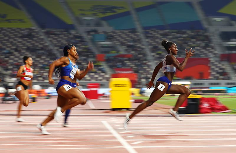 DOHA, QATAR - OCTOBER 02: Dina Asher-Smith of Great Britain competes in the Women's 200 metres final during day six of 17th IAAF World Athletics Championships Doha 2019 at Khalifa International Stadium on October 02, 2019 in Doha, Qatar. (Photo by Michael Steele/Getty Images)