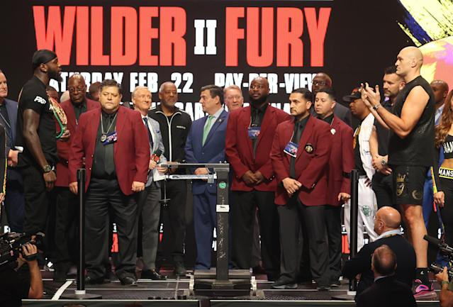 Deontay Wilder and Tyson Fury face off during their official weigh-in at MGM Grand Garden Arena on Feb. 21, 2020 in Las Vegas. (Al Bello/Getty Images)