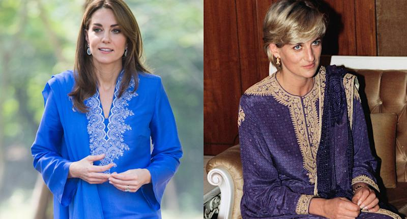 Like Princess Diana (pictured in 1997), Kate Middleton opted for a purple kurta during her Pakistan visit. (Photo: Getty Images)