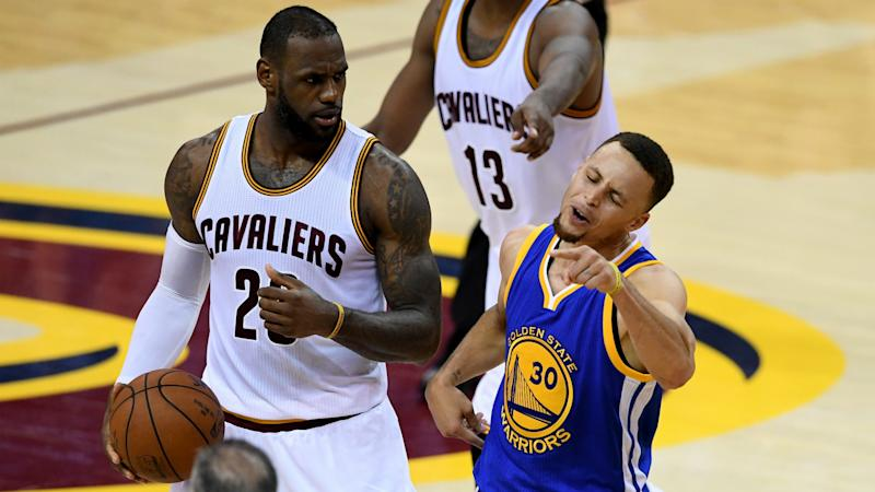5c0c5834d601 LeBron James laughs as Stephen Curry flails and NBA Finals go to Game 7
