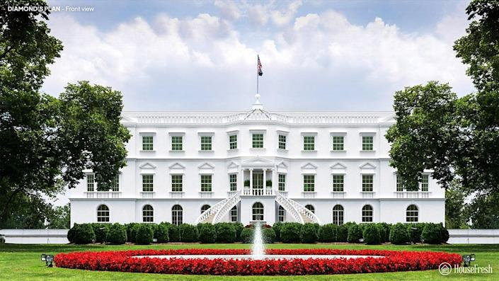 Front view of the White House designed by James Diamond.