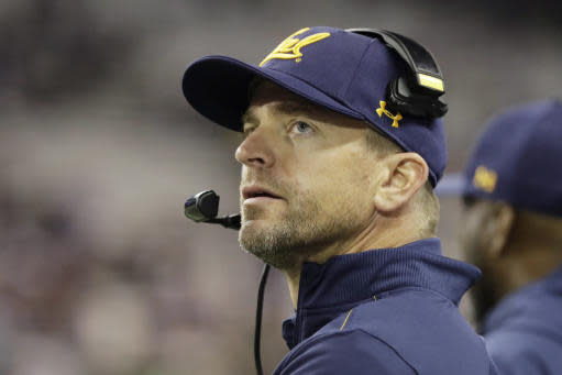 California head coach Justin Wilcox looks toward the scoreboard during the first half of an NCAA college football game against Washington, Saturday, Sept. 7, 2019, in Seattle. (AP Photo/Ted S. Warren)