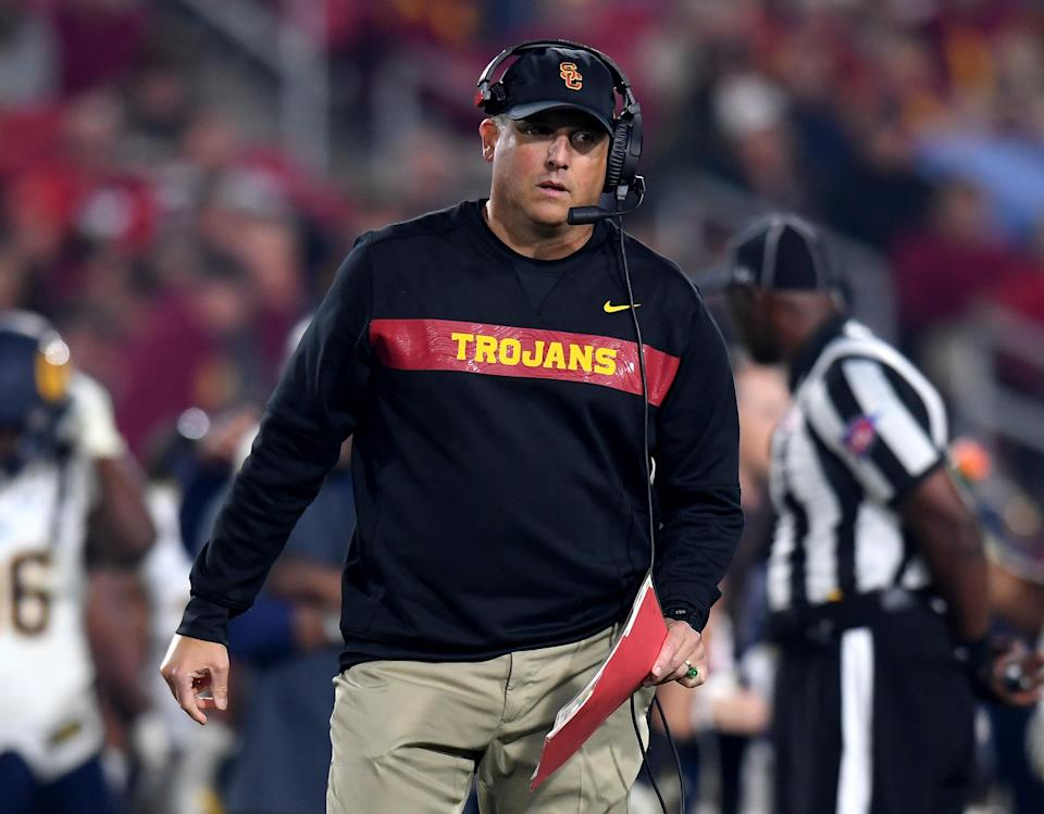Head coach Clay Helton of the USC Trojans during a 15-14 loss to the California Golden Bears at Los Angeles Memorial Coliseum on November 10, 2018 in Los Angeles, California. (Photo by Harry How/Getty Images)