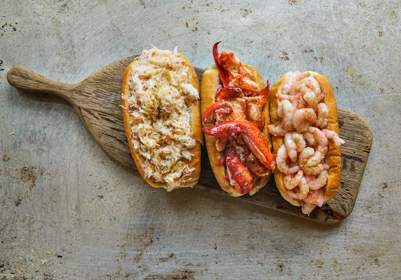 All three classic Luke's Lobster rolls—from left to right; Crab Roll, Lobster Roll and Prawn Roll—will be available in Luke's Lobster Singapore. (PHOTO: Luke's Lobster)