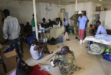 Wounded South Sudan military personnel receive medical treatment at the general military hospital in the capital Juba