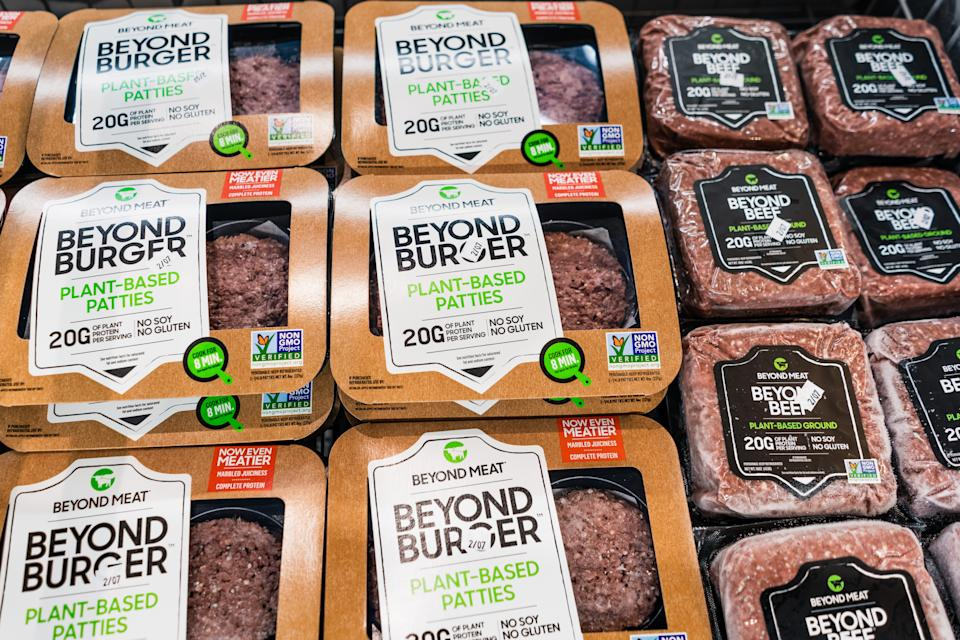 Beyond Burger and Beyond Beef packages available for purchase in a supermarket in San Francisco bay area